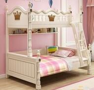 美式高低床上下床雙層床兒童床女孩公主床實木上下鋪床成人子母床 小宅女MKS