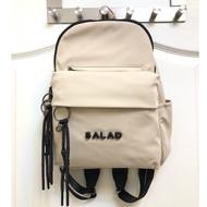 Salad米色流蘇立體logo後背包