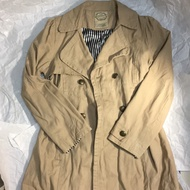 Dazzlin 棉質 風衣 造型 長袖外套 風衣外套 可綁帶蝴蝶結 卡其色 內裡條紋 m號