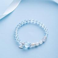 5A 冰種海藍寶珍珠手鍊 | 925純銀字母月光石手鏈客製設計禮物
