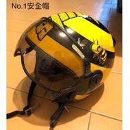 (已訂勿下)ZEUS 3/4 小蜜蜂復古安全帽(二手)(附飛行鏡面)