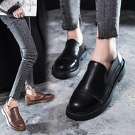 รองเท้าผู้หญิง vintage size35-39 รองเท้า oxford รองเท้าหนัง แบบสลิป-ออน รองเท้าคัชชูผู้หญิง slip on shoes black