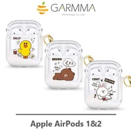 GARMMA AirPods 1/2代 LINE FRIENDS 熊大 兔兔 莎莉 流沙藍牙耳機盒保護套