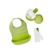 【預購9月到】美國 OXO tot 出門好好餵禮盒(綠)(圍兜+研磨碗+矽膠湯匙)