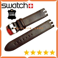 Leathers Leather Watch Strap Swatch 21mm Dark Brown