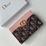 Dior迪奧手拿卡包 馬鞍老花三折短錢包 dior老花logo短夾 新款迪奧馬鞍短款錢包1977