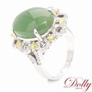 【DOLLY】天然碧玉 銀飾戒指(15x12mm)