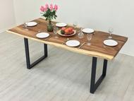 《愛爾蘭》180cm原木桌 餐桌 工作桌 辦公桌 原木桌 大板 厚板 雨豆木 原木 鐵腳 黑鐵 三種款式 !新生活家具! 樂天雙12