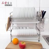 【品愛生活】新型方管304不鏽鋼雙層碗盤瀝水架