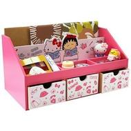 正版 Hello Kitty x 小丸子 系列 橫式兩抽收納盒 / 橫式三抽收納盒  雙門雙抽櫃 收納盒