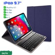 แป้นพิมพ์ Bluetooth ของ iPad case เคสคีย์บอร์ดไอแพด เคสคีย์บอร์ด new iPad 9.7 2018/2017 iPad Pro 9.7 iPad Air/Air 2 9.7 แป้นพิมพ์ ไทย/อังกฤษ คีย์บอร์ดเคส เคส iPad 9.7 นิ้ว รองรับการชาร์จ Apple Pencil - Smart Case for iPad with Keyboard