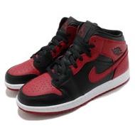 Nike 籃球鞋 Air Jordan 1 Mid 運動 女鞋 基本款 簡約 喬丹一代 大童 穿搭 黑 紅 554725074 554725-074
