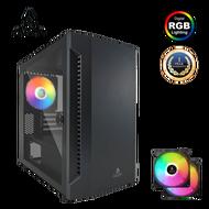AZZA Micro ATX Mini Tower Tempered Glass Bastion 120 With 14cm Rainbow RGB Fan