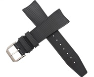 22mm Rubber Carbon Fiber Pattern Watch Strap Silver Buckle Band Fits for IWC Vintage Aquatimer Family