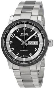 นาฬิกาข้อมือผู้ชาย MIDO Multifort Automatic รุ่น M018.430.11.062.00 ตัวเรือน 42 มม สีเงิน หน้าปัดสีดำ เก็บพลังงานสำรองได้ 40 ชม. รับประกันบริษัท C.THONG PANICH 2 ปี