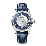 【TITONI 瑞士梅花錶】SPACE STAR 天星系列-藍銀色雙色錶盤/藍色真皮錶帶/40mm(83538 S-ST-580)
