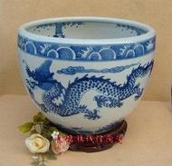 景德鎮瓷器工藝品 高檔青花跳水龍珠缸 藝術陶瓷 中號擺設