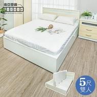 【南亞塑鋼】5尺雙人加高型側掀塑鋼床組(床頭片+加高側掀床底-黃橡木色)