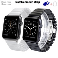 Ceramic Strap for Apple Watch Band 44 mm 40mm i watch band 42mm 38mm Luxury Stainless steel buckle bracelet Apple watch  5 4 3 2 1