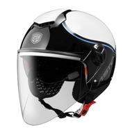 Astone 安全帽 CJ500 LL10 白藍 加長鏡片 內藏式墨鏡 全可拆 半罩《送280購物金》