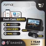 [Ready Stock] 70mai A800S Dual vision 4K Dash Rear Cam APP Control ADAS Built in GPS Night Vision A800