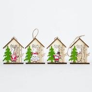 ราคาถูกสุด!จี้ต้นคริสต์มาสไม้คริสต์มาสSnowman Elkกระท่อมไม้ซุงจี้