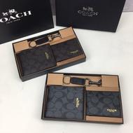 全新Coach F74991/74586 歐美熱銷男士皮夾 短夾 卡夾錢包  多卡位錢包 證件夾 PVC短夾 附鑰匙扣