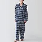 [MUJI無印良品]男有機棉無側縫法蘭絨家居睡衣L~XL深藍紋樣