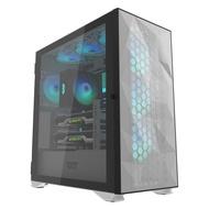 darkFlash DLX21 Mesh E-ATX 電競電腦機殼-白色(含4顆14公分ARGB風扇)