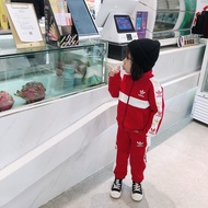 Adidas愛迪達冬季最新款專櫃同款兒童套裝 運動褲套裝 拼色撞色 三葉草童裝 運動套裝 拉鏈外套 男童套裝 女童套裝
