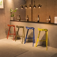 Iron Transformer Chair Bar Chair Creative Geometric Chair Bar Chair Bar Chair Front Desk Chair Color Metal Bar Stool High Pedal