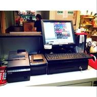 二手全套POS機系統(含系統主機+自動錢箱+收據機+二聯式發票機+貼紙機+鍵盤)