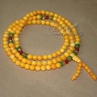 黃硨磲108顆佛珠手鏈 金色硨磲手鏈 黃金硨磲佛珠項鏈手串6mm