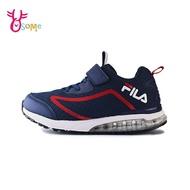 FILA童鞋 男童運動鞋 童氣墊鞋 足弓 避震運動鞋 跑步鞋 慢跑鞋 魔鬼氈 Q7662#藍色◆奧森