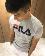美國百分百【全新真品】FILA 短袖 T恤 上衣 T-shirt 運動潮流 復古 灰色 大logo J129
