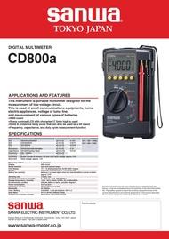 SANWA ซันวา ดิจิตอลมัลติมิเตอร์ DIGITAL MULTIMETER CD800a
