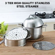 Periuk Kukus 32cm 3 tingkat, 32CM 3 Layer High Quality Multi-Function Stainless Steel Steamer Pot Cookware