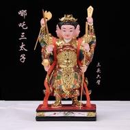 哪吒三太子神像中壇元帥三頭六臂三太子道教神像佛像樹脂供奉擺件