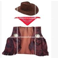 低價現貨cosplay 萬圣節演出服裝成人兒童美國西部牛仔馬夾 帽子 方巾配件24h發