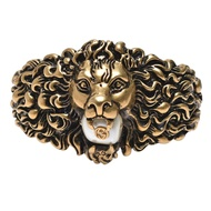 GUCCI 獅頭珍珠點綴造型手環(古銅金)