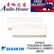 DAIKIN SYSTEM 2 INVERTER  3MKS50FSG COMPRESSOR+ FTKS25DVM X1 9000BTU + FTKS35DVM X1 12000BTU AIRCON