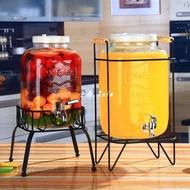 復古無鉛玻璃壺開關瓶果汁罐冷飲冷水壺大容量不耐熱水龍頭飲料桶
