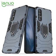 LENUO for OPPO Reno3 Pro PC Phone Case Finger Ring Plastic Phone Shell Protective Back Cover Hard Armor Casing