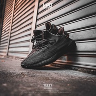 IMPACT Adidas Yeezy Boost 350 V2 黑 全黑 透明 3M 鞋帶反光 黑天使 FU9006