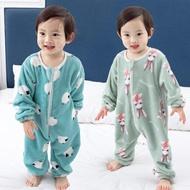 寶寶睡袋加絨加厚雙層秋冬季嬰兒童法蘭絨連身睡衣爬服防踢被 現貨快出 年終狂歡大減價!全館限時8.5折