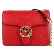 GUCCI 紅色真皮雙G標誌押扣金屬鍊帶斜背包