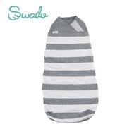 美國Swado 全階段靜音好眠包巾 經典有機款-灰白條紋 (S/M)【佳兒園婦幼館】
