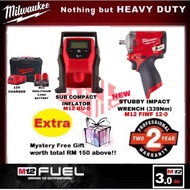 Milwaukee M12 FUEL ™ stubby impact wrench + inflator Combo Set.