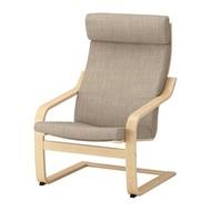 IKEA POÄNG 扶手椅, 實木貼皮, 樺木/hillared 米色
