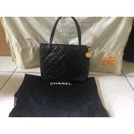 CHANEL 黑色荔枝紋金幣包chanel bag 香奈兒包包 菱格紋    二手商品